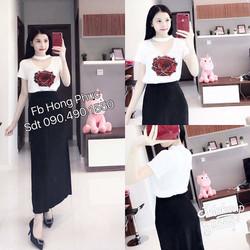 Set áo hoa hồng + váy