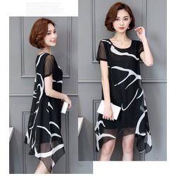 Đầm voan hoạ tiết tay ngắn - hàng nhập Quảng Châu cao cấp