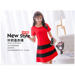 Đầm thời trang Đỏ phối đen  nhập khẩu trực tiếp từ HongKong - AD46