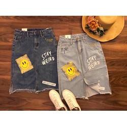 Chân váy jean in hình