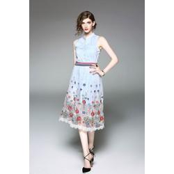 HÀNG CAO CẤP - Đầm sơmi phối chân váy lưới thêu ngoài - 17267-H490
