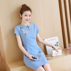 Đầm Jean Thêu Hoa Cao Cấp Đính Nơ Cổ Giọt Nước DXH130