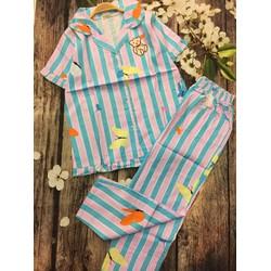 Set bộ kate sọc bướm gấu quần dài hàng thiết kế! MS: S020652 GS: 135K
