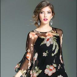 Đầm hoa hàng nhập hồng Kông SCS111