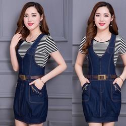 Đầm jean yếm lai bo phối dây kéo túi thời trang