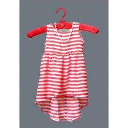 Đầm kiểu bé gái sọc ngang đỏ+ dây chuyền