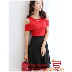 Đầm thời trang hở vai nhập khẩu trực tiếp từ Hàn Quốc AD56 - Đỏ sẫm