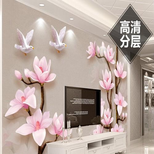 Tranh dán tường 3D hoa đào BINBIN H85
