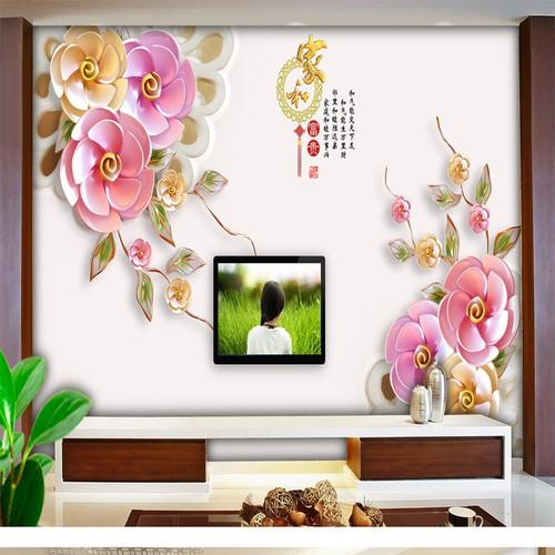 Tranh dán tường 3D sắc hoa BINBIN H84