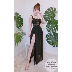 Set áo crop ren + váy quần maxi xẻ đùi hàng thiết kế