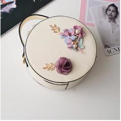 Túi xách nữ dạng tròn, đính hoa Sweet Cake