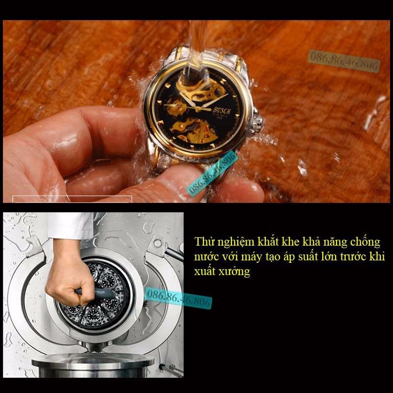 Đồng hồ lộ máy cơ cao cấp mạ PVD vàng kính sapphire chống nước Thụy Sĩ 7