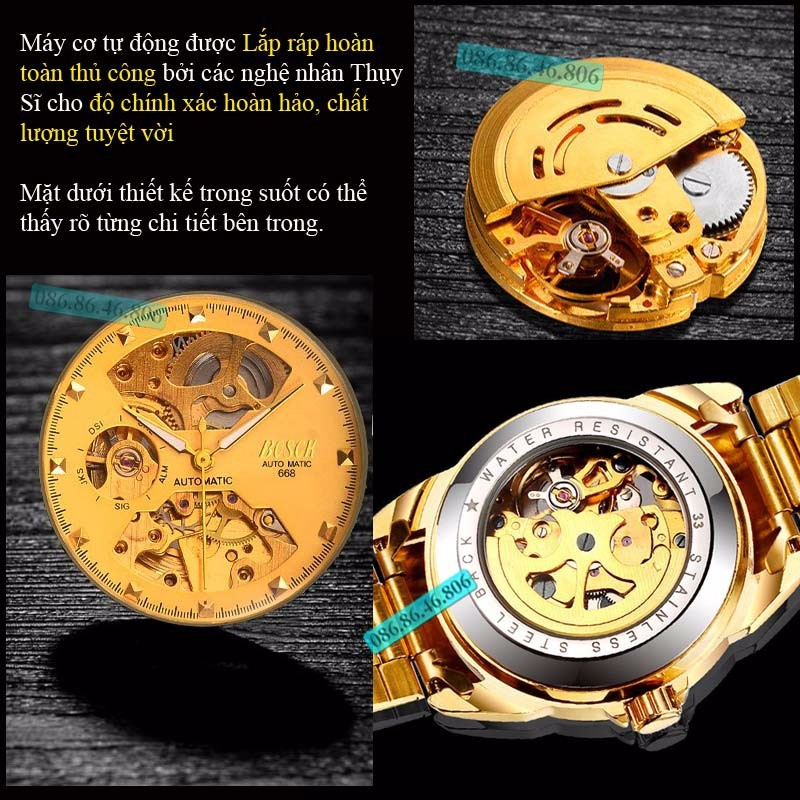 Đồng hồ lộ máy cơ cao cấp mạ PVD vàng kính sapphire chống nước Thụy Sĩ 9
