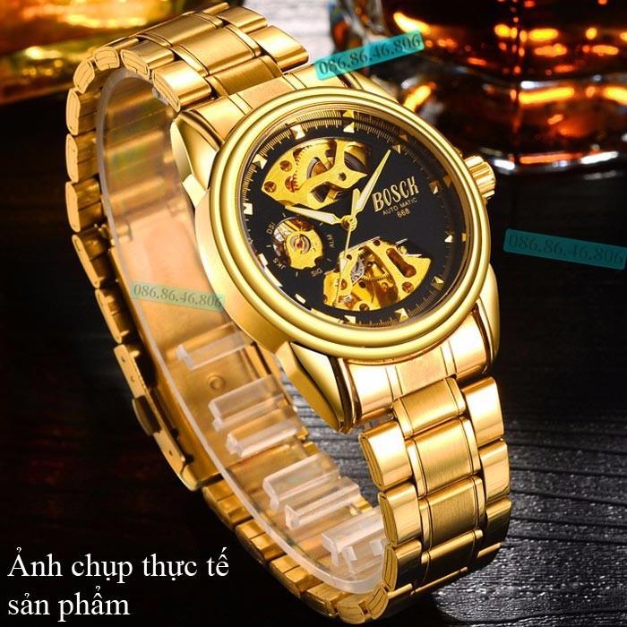 Đồng hồ lộ máy cơ cao cấp mạ PVD vàng kính sapphire chống nước Thụy Sĩ 16
