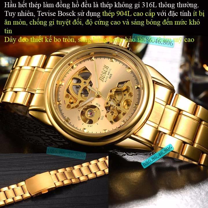 Đồng hồ lộ máy cơ cao cấp mạ PVD vàng kính sapphire chống nước Thụy Sĩ 8