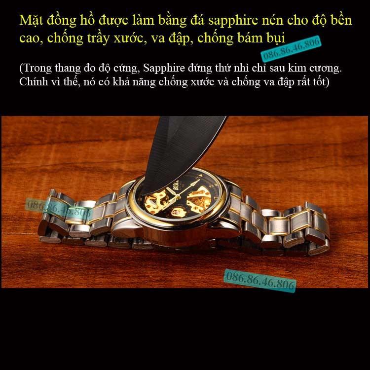 Đồng hồ lộ máy cơ cao cấp mạ PVD vàng kính sapphire chống nước Thụy Sĩ 6