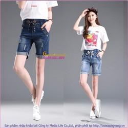 Quần short jean nữ lưng thun co giãn GLQ034