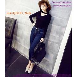 Quần jean nữ lưng cao 4 nút phong cách sành điệu QD253