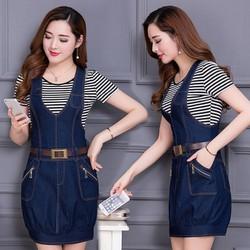 Đầm Jean Yếm Lai Bo Phối Dây Kéo Túi Thời Trang - TP1305