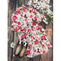 Đầm suông sơ mi họa tiết hoa