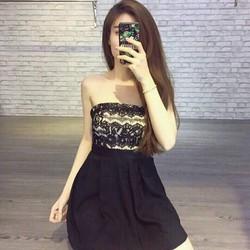 Đầm xoè ống cúp phối ren váy xoè