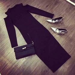 Đầm body tay dài khoét vai sang chảnh cao cấp
