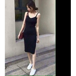 Đầm thun body 2 dây đen xẻ đùi cực đẹp dễ xinh