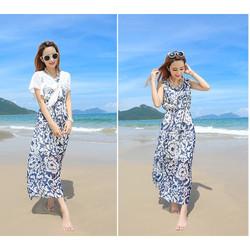 Váy đầm maxi voan dạo chơi đi biển 03