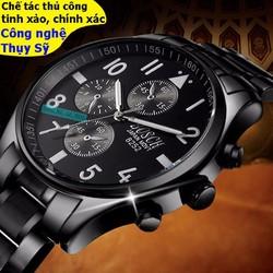 Đồng hồ kim mạ crom cao cấp kính sapphire mạ crom chống nước Thụy Sĩ