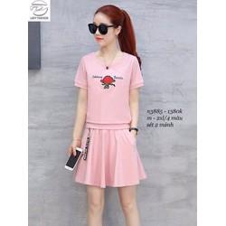 Sét áo hoa hồng + chân váy