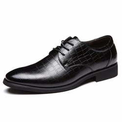 Giày công sở da thật - Giày tây Junsite vân cá sâu nam