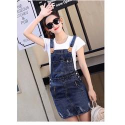 Đầm Yếm Jeans Túi Tia Kéo Năng Động D693