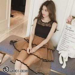 Đầm xòe ren tầng phối viền xinh xắn - hàng nhập Quảng Châu cao cấp