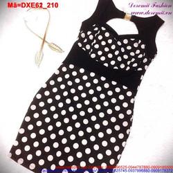 Đầm xòe chấm bi khoét ngực quyến rũ DXE62