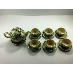 Bình trà men cổ bọc đồng