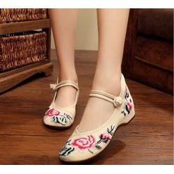 Giày Vải Thêu Hoa Rất Đẹp , Vải Dày