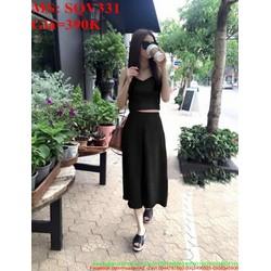 Sét áo kiểu 2 dây phối quần lửng ống loe sành điệu SQV331
