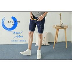 Quần Short Jean nam kiểu dáng mới cá tính phong cách Hàn Quốc