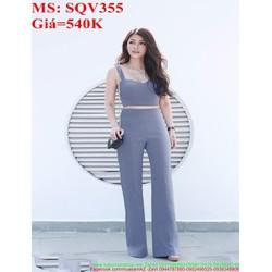 Sét áo kiểu cúp 2 dây croptop và quần ống suông sành điệu SQV355