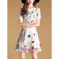 Đầm xoè tay ngắn hoa và chim