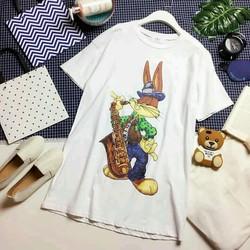 Đầm thun suông in hình thỏ