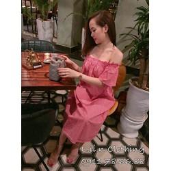 Đầm  caro suông trễ vai  so hot