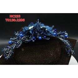 Cài tóc cô dâu màu xanh nước biển đính đá