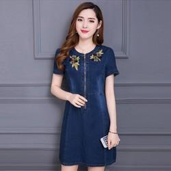 Đầm Jean Thêu Hoa Phối Dây Kéo Trước Cao Cấp