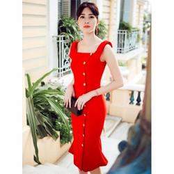 Đầm Hoa Hậu Thu Thảo Đính Nút Xinh Xắn - 1982
