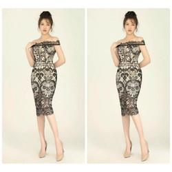 Đầm body ren thiết kế bẹt vai cao cấp