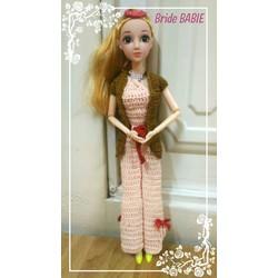 Doll cô dâu Korea - bộ đồ len màu da áo croptop, quần loe, khoác nâu