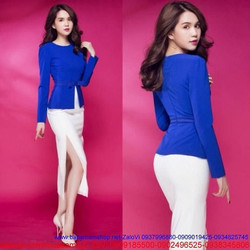 Chân váy trắng ôm body xẻ tà giống Ngọc Trinh CV94