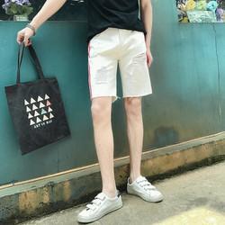 Quần Short Jean nam thời trang thiết kế sọc 2 bên kiểu dáng thể thao