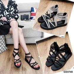 Giày sandal da lộn dây mảnh khóa kéo trẻ trung màu đen